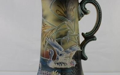"""15"""" Nippon Moriage Pitcher with Duck Patterns in deep"""