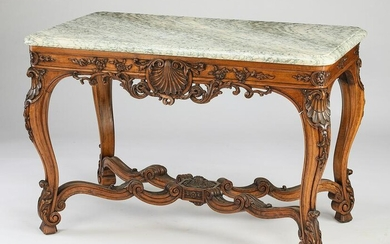 19th c. Louis XV style marble top walnut center table