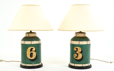 (2) ANTIQUE TOLE PAINTED TEA CANISTERS, AS LAMPS