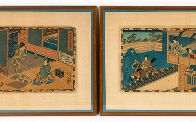 2 PCS, UTAGAWA KUNISADA , JAPANESE WOODBLOCKS