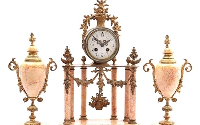 (-), 3-piece clock set with marble, France ca....