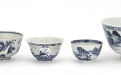 A Chinese Export Blue and White Porcelain Spouted and Handled Bowl