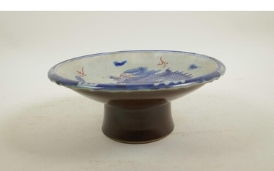 A Chinese blue and white porcelain stem bowl decorated with ...
