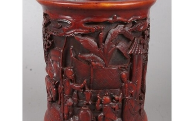 A Chinese boxwood brush pot. With carved landscape and figur...