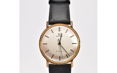 A GENTS 9CT GOLD 'OMEGA GENEVE' WRISTWATCH, (missing crown) ...