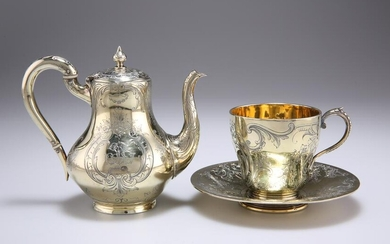 A FRENCH SILVER-GILT SMALL COFFEE POT, MID 19TH
