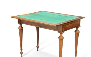 A GOOD FRENCH PATENTED WALNUT GAMING TABLE, LATE 19TH CENTUR...