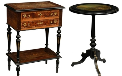 A Neoclassical lady's sewing table and a matching fold-over tea table, H 73 - 76 cm