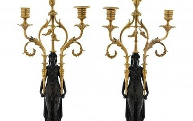 A PAIR OF EMPIRE BRONZE AND MARBLE CANDELABRA