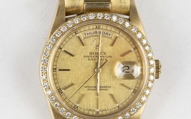 A Rolex Oyster Perpetual Day-Date 18ct gold cased gentleman's bracelet wristwatch, circa 1990