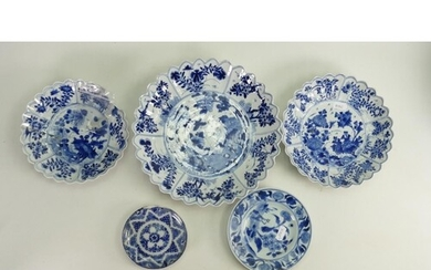 A collection of 17th century Kangxi period blue and white po...