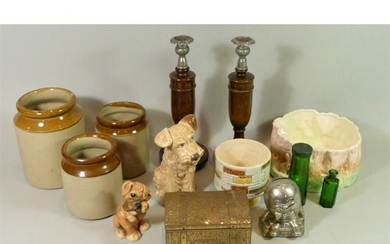 A collection of ceramics, to include three earthenware stora...