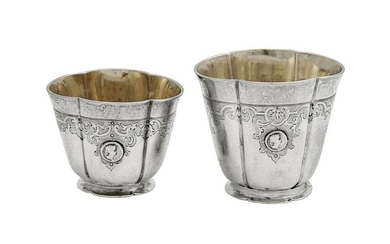 A graduated pair of early 18th century German silver