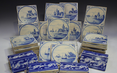 A group of approximately fifty Dutch Delft blue and white tiles, late 19th/early 20th century, each