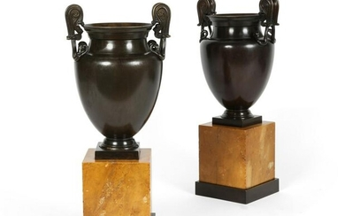 A pair of Neoclassical bronze and marble vases