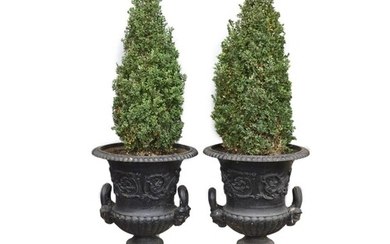 A pair of Victorian cast iron campana garden urns with black...