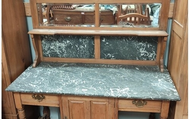 A stripped wood, marble top wash stand with tall mirror back...