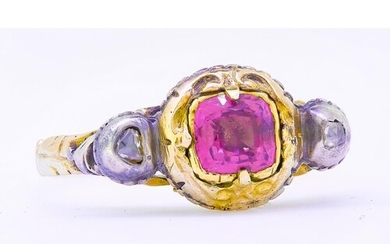 ANTIQUE TOURMALINE AND DIAMOND RING, set with a central tour...