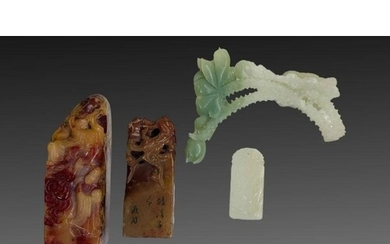 An Assortment Of Chinese Jade & Hardstone Pendants & Stamps ...