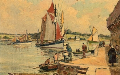 """André DEMOLY (1889-1961) """"Concarneau, the hold at the foot of the ramparts"""" hst wd 27x35"""