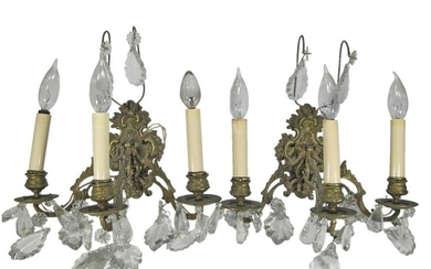 Antique French pair of bronze & crystals sconces