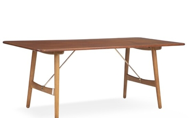 """Børge Mogensen: """"Hunting table"""". Dining table with legs of oak and top of solid teak...."""