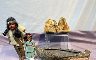 C. 1900s Native American Moccasins, Dolls, Bowl, Beaded