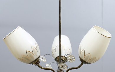 CEILING LAMP, 3 light points, mid 1900s.
