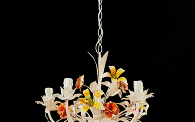 CEILING LAMP, second half of the 20th century, probably Italy, 5 light arms, polychrome painted metal with decoration of flowers and leaves.