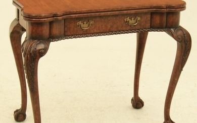 CHIPPENDALE STYLE MAHGOANY FOLDING GAMES TABLE