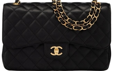 Chanel Black Quilted Caviar Leather Jumbo Double
