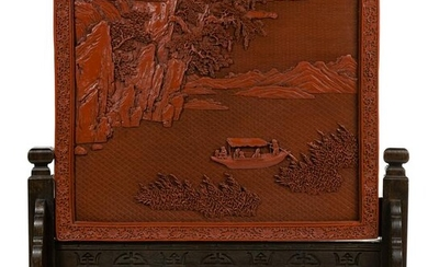 Chinese Cinnabar Red Lacquer Table Screen