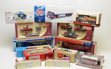 Collection of boxed Corgi scale model commercial and trackside vehicles.