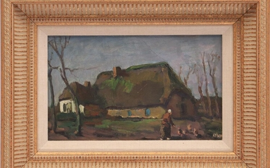 Edzard Koning (1869-1954), Dutch farm with woman with chickens, canvas...