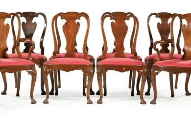Eight Queen Anne-Style Mahogany Dining Chairs