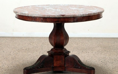 FRENCH EMPIRE STYLE 19TH C MARBLE TOP CENTER TABLE