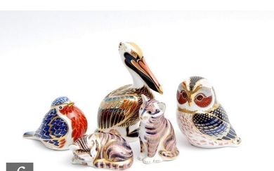 Five assorted Royal Crown Derby paperweights comprising a Br...