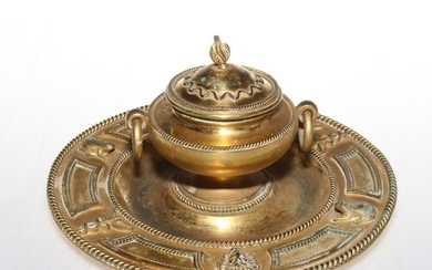 French 19th Century gilt desk inkwell with rope twist border...