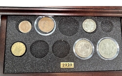 GB coin sets 1939-1945 in cabinet (not complete)