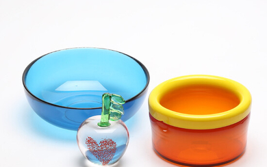 GLASS OBJECTS, 3 parts, including Orrefors, Johansfors.