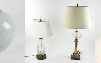 Group of Three Lamps and One Vase