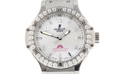 HUBLOT - a limited edition stainless steel lady's Big Bang 'Crown of Light' wrist watch.