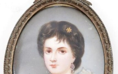 Hand-painted portrait miniature in oval bow frame