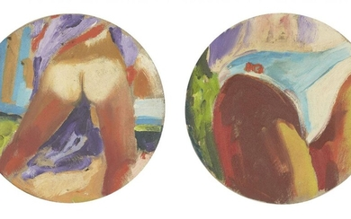 James Collins, British 1939-2021 - Figure Study, 1981; oil on shaped canvas, inscribed and dated on the reverse of the canvas, diameter 20.2 cm: together with another oil on shaped canvas by the same artist, 'Figure Study', inscribed and dated on...
