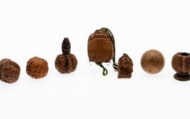 Japanese Wood Inro, 4 Carved Nuts & Small Gourd