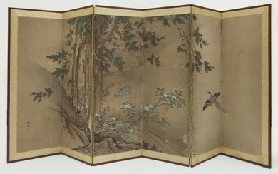 Japanese late Edo watercolor painted screen