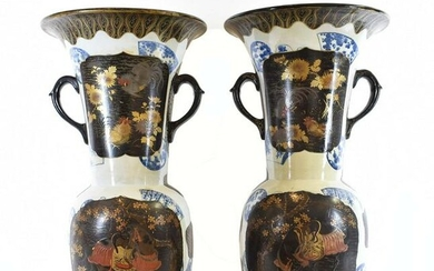 LARGE PAIR JAPANESE PORCELAIN AND LACQUERED VASES