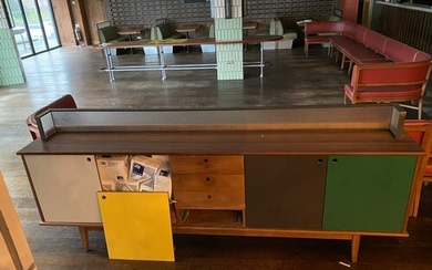 Large commercial sideboard with metal and glass upstand to t...