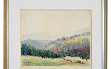 """MARIA SCHMID - FRANKEN. """"Early spring in the Hoher Geiss"""". Watercolor on laid paper."""
