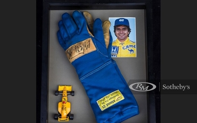 Nelson Piquet Race Worn and Signed Gloves